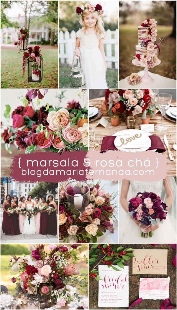 Decoração de Casamento : Paleta de Cores Marsala e Rosa Chá - MaFer Marion
