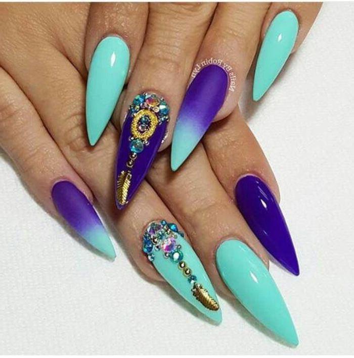 decorazione-unghie-stiletto-diversi-colori-azzurro-blu-accent-nail ...