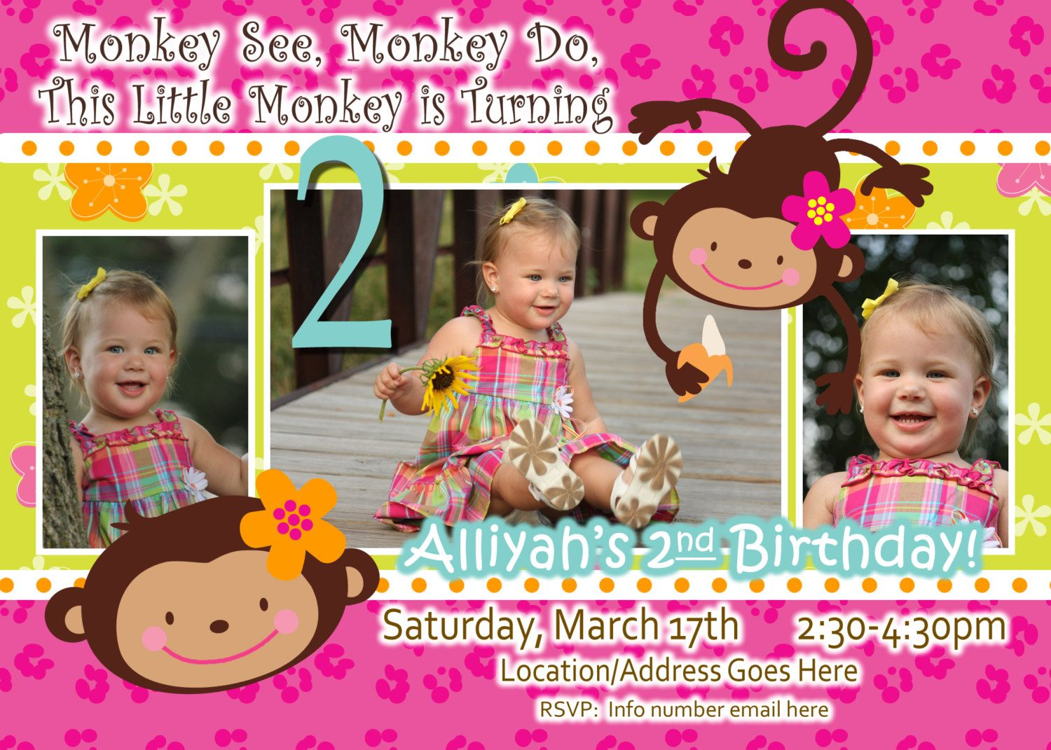 Monkey Love Invite Birthday Photo Invite Year Old Years Old - Birthday invitation wording for 1 year old baby girl