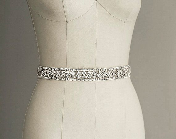 $148 PRISCILLA - Crystal Sash Belt, Bridal Gown Belt, Long ...