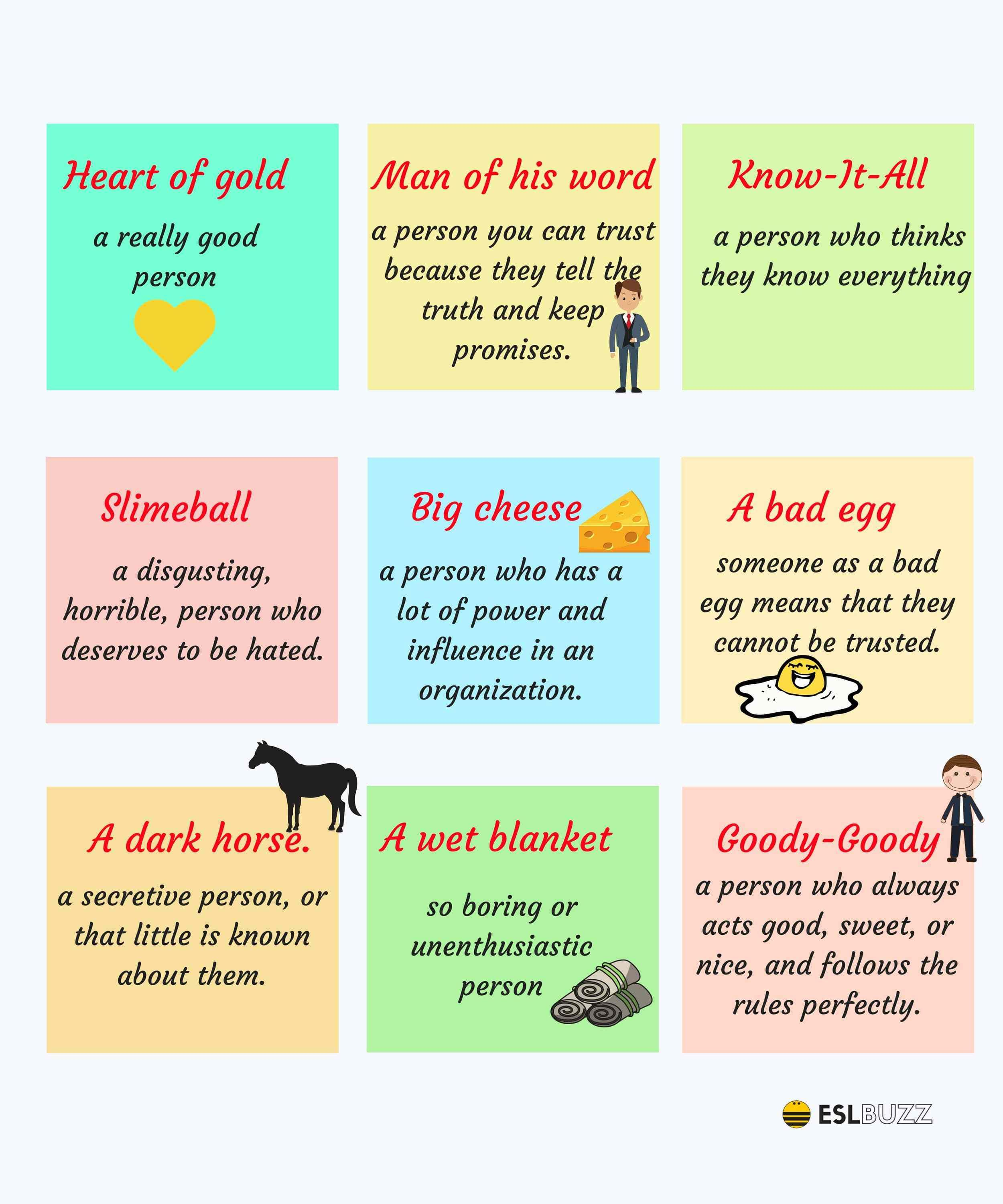25 Common Idioms To Describe People In English