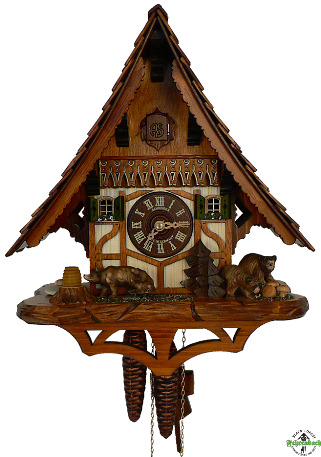 Cuckoo Clock 1 Day Chalet With Bear Amp Cubs Schneider