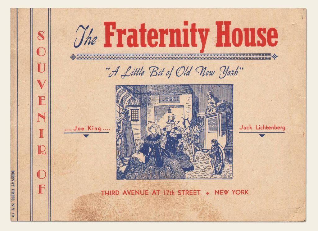 1945 Fraternity House Restaurant Souvenir | OldBrochures.com