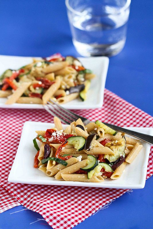 Roasted Vegetable Pasta Salad Recipe With Eggplant Zucchini Feta Cheese By CookinCanuck