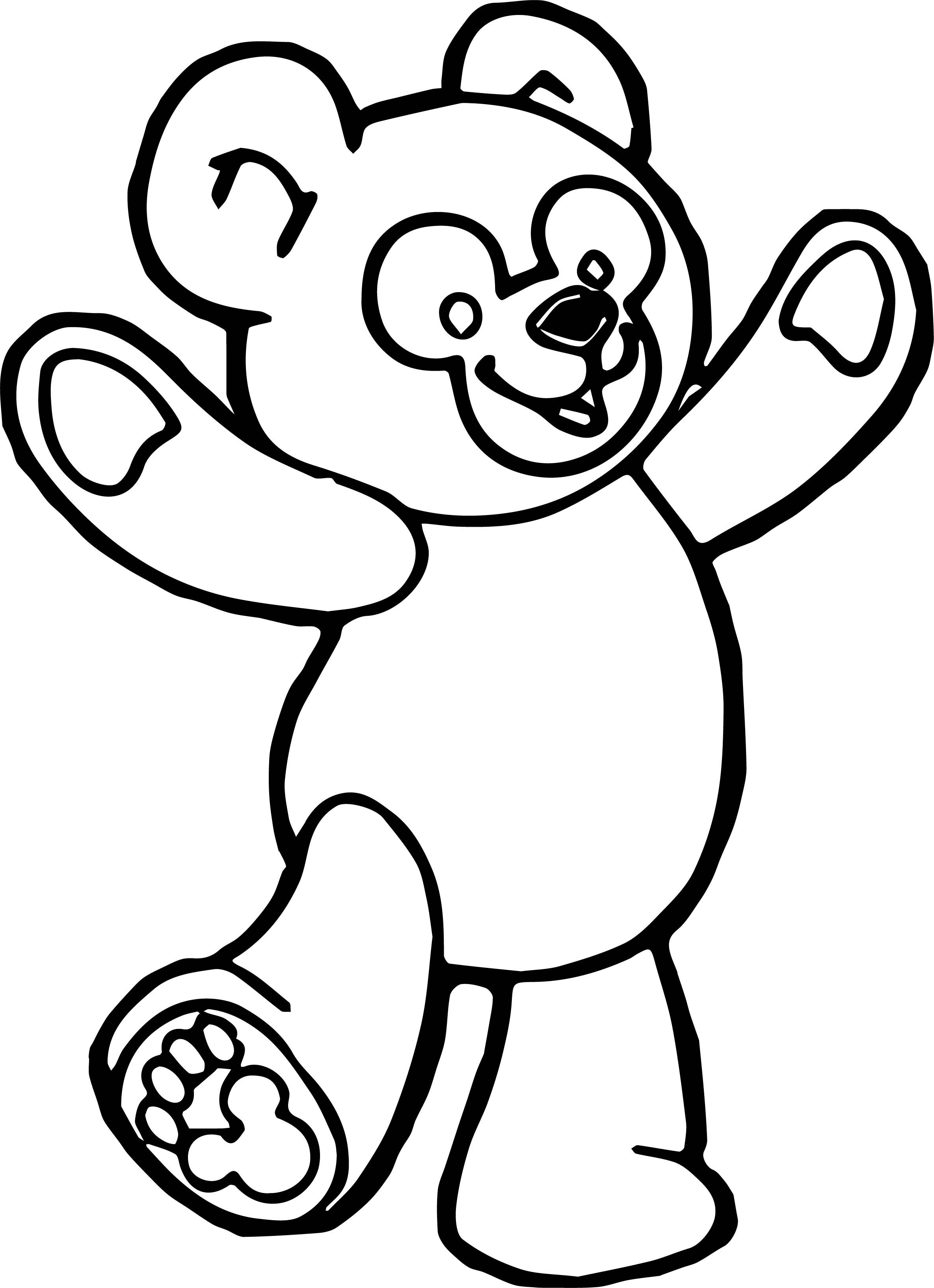 Cool Happy Bear Standing Coloring Page