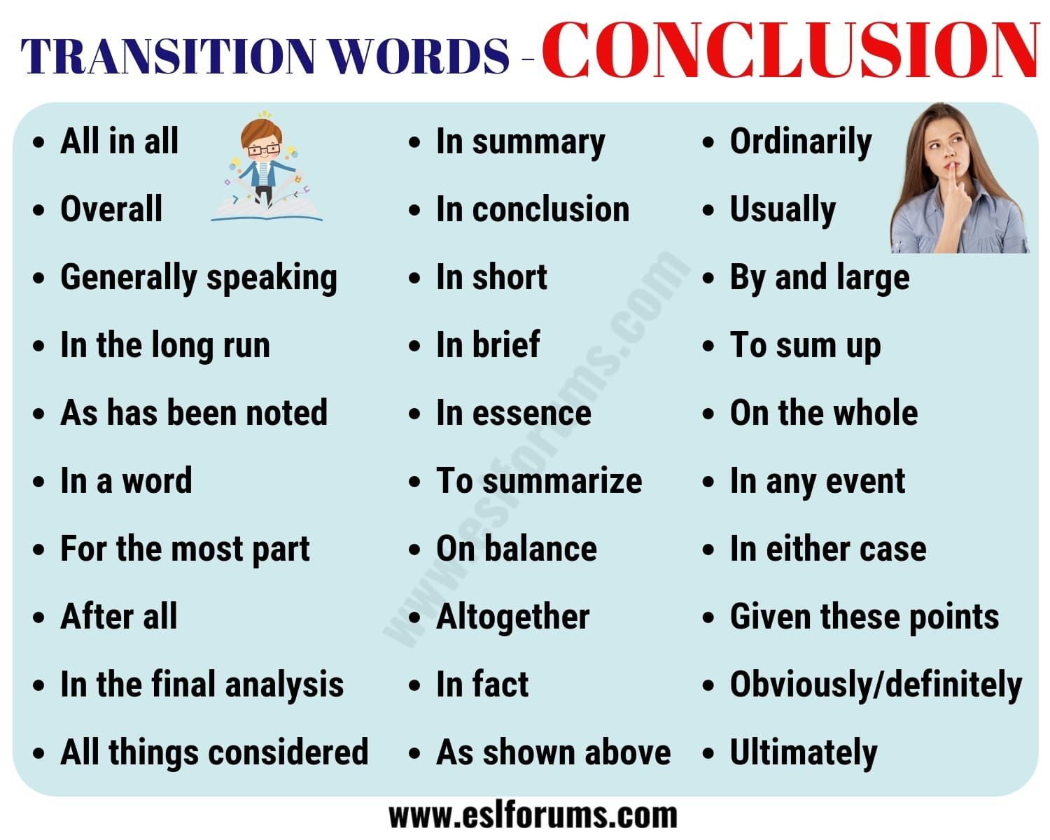 Conclusion Transition Word Useful List Example Esl Forum Writing Words Sentence For Essay Examples Phrase