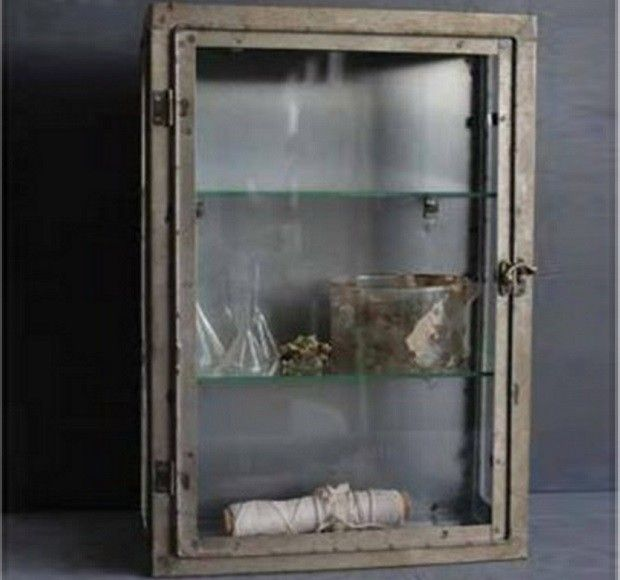 Rustic Metal Wall Cabinet With Glass Door Rustic Medicine Cabinet
