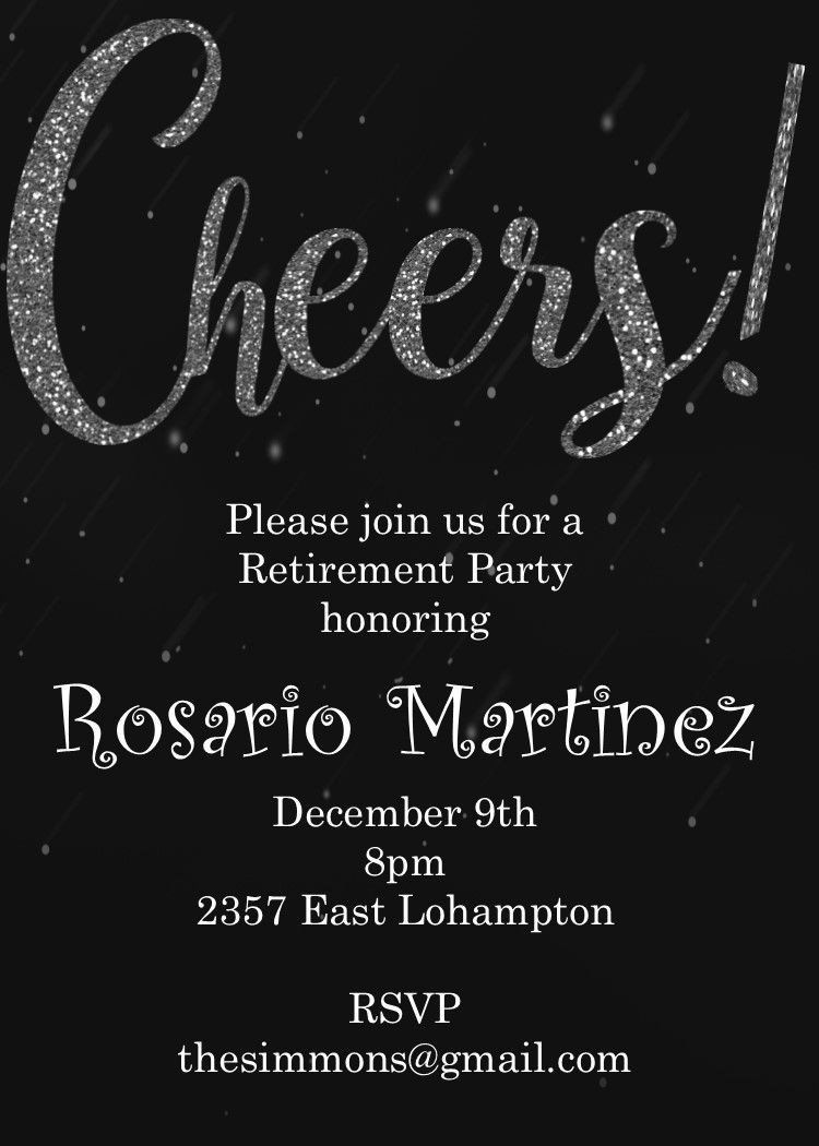 Black and White Party Invitations Cheers Retirement Party Invitations in  2020 | New years eve invitations, Cocktail party invitation, Anniversary party  invitations