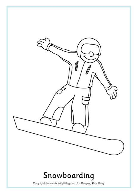 Snowboarding Colouring Page 2 Winter Sports Preschool Winter
