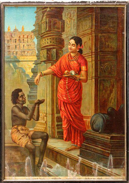 Mandodari, Ravana's wife, gives alms to a mendicant, from ...