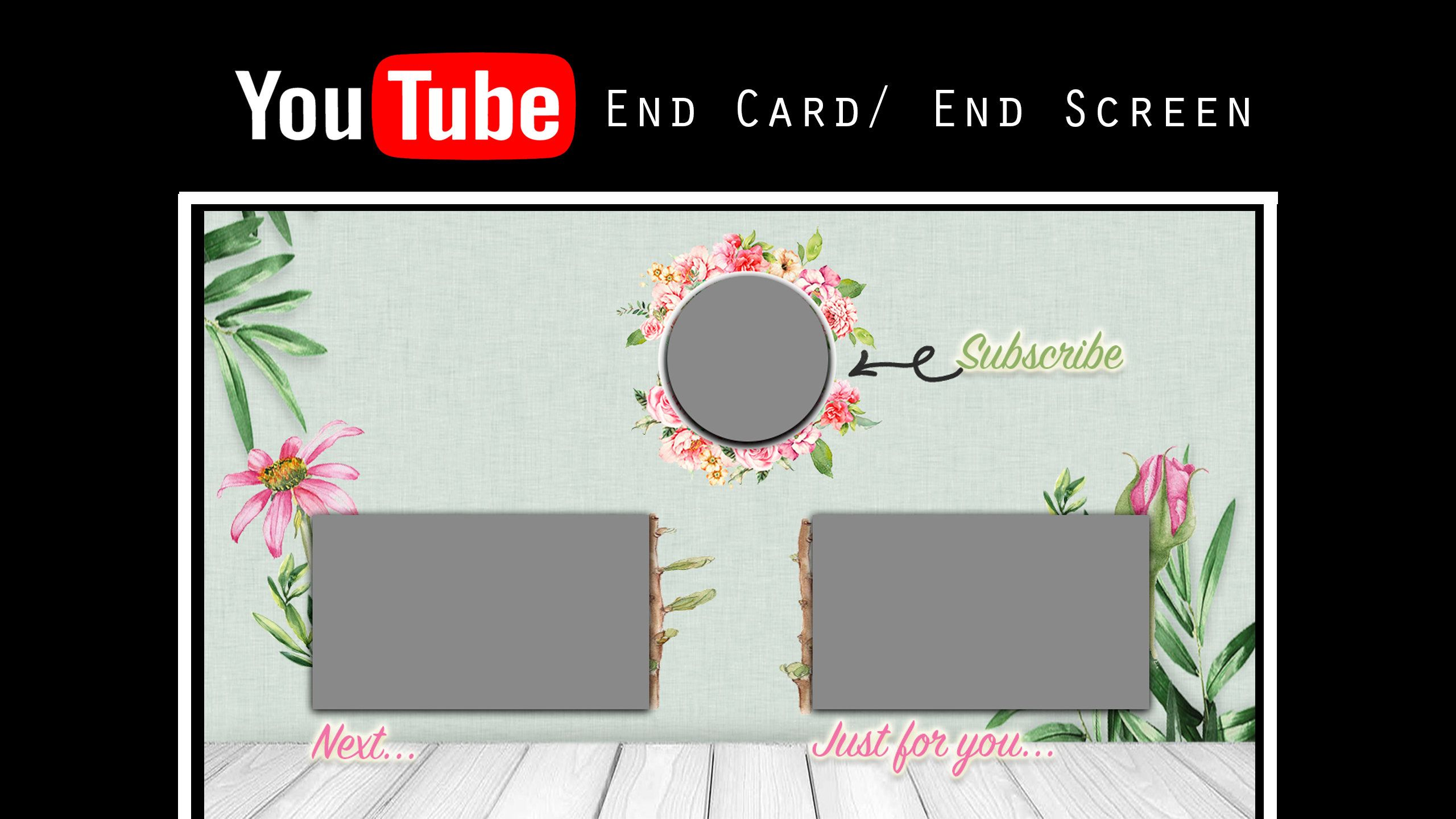 Youtube End Screen Youtube End Card Video Outro Card Stickers Beautiful Watercolour Flowers Youtube Digital Elements Wellness Design
