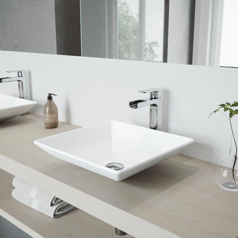 Matte Stone White Square Vessel Bathroom Sink With Faucet Wall Mounted Bathroom Sinks Square Bathroom Sink Bathroom Sink White square vessel sink