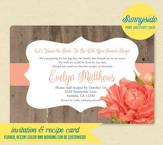 Bridal Shower Invitation Recipe Card