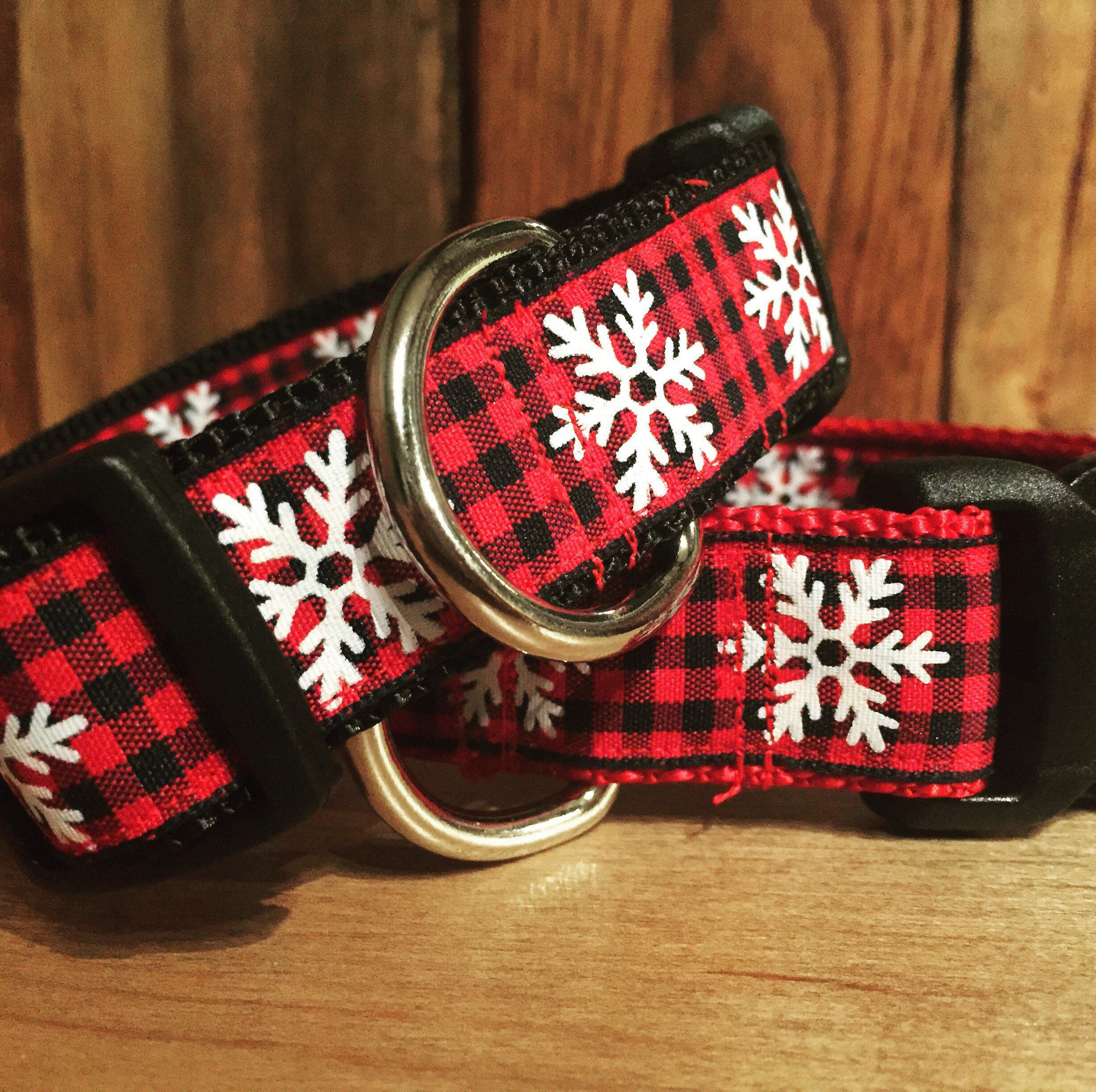 Buffalo plaid dog collar check winter dog collarholiday