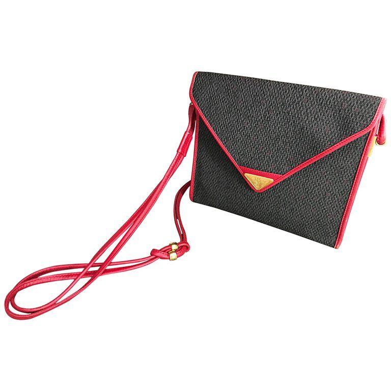5d96719595 Vintage Yves Saint Laurent Waxed Canvas Leather Crossbody YSL Shoulder Bag