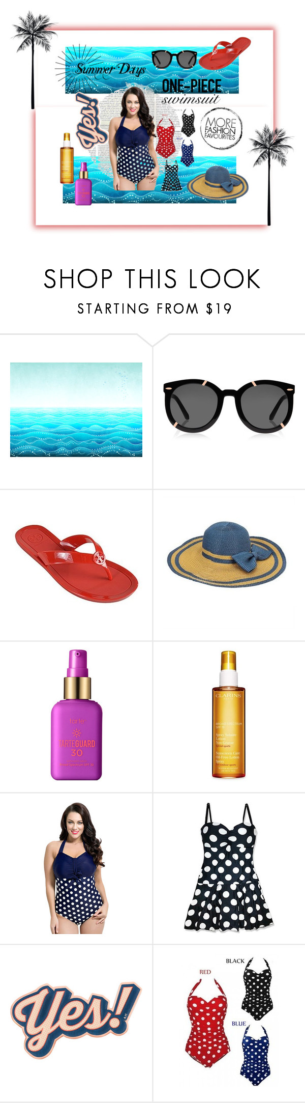 """""""Stylish Curves"""" by elahe-toutaiolepo ❤ liked on Polyvore featuring Karen Walker, Tory Burch, tarte, Clarins, Anya Hindmarch, stylishcurves and plussizeswimsuit"""