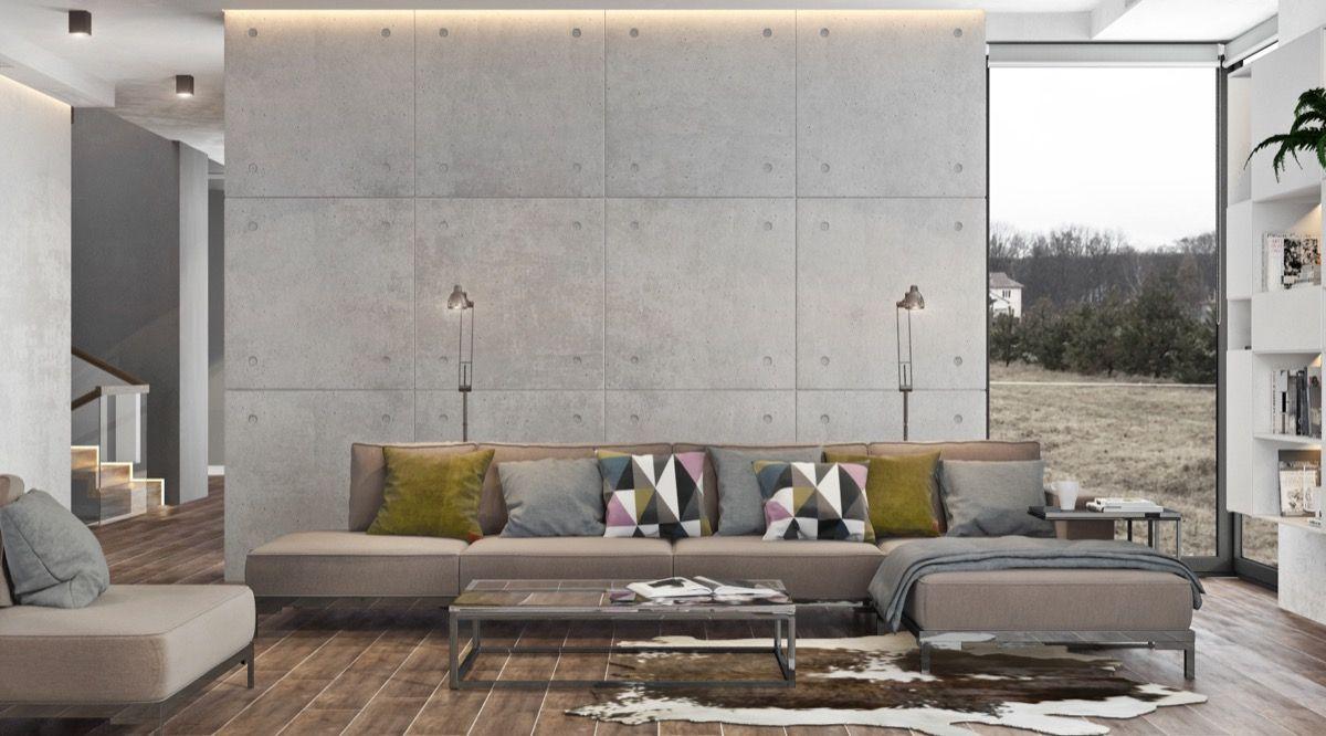 40 stilvolle Wohnzimmer, die mit Beton auffallen | Wohnzimmer Ideen ...