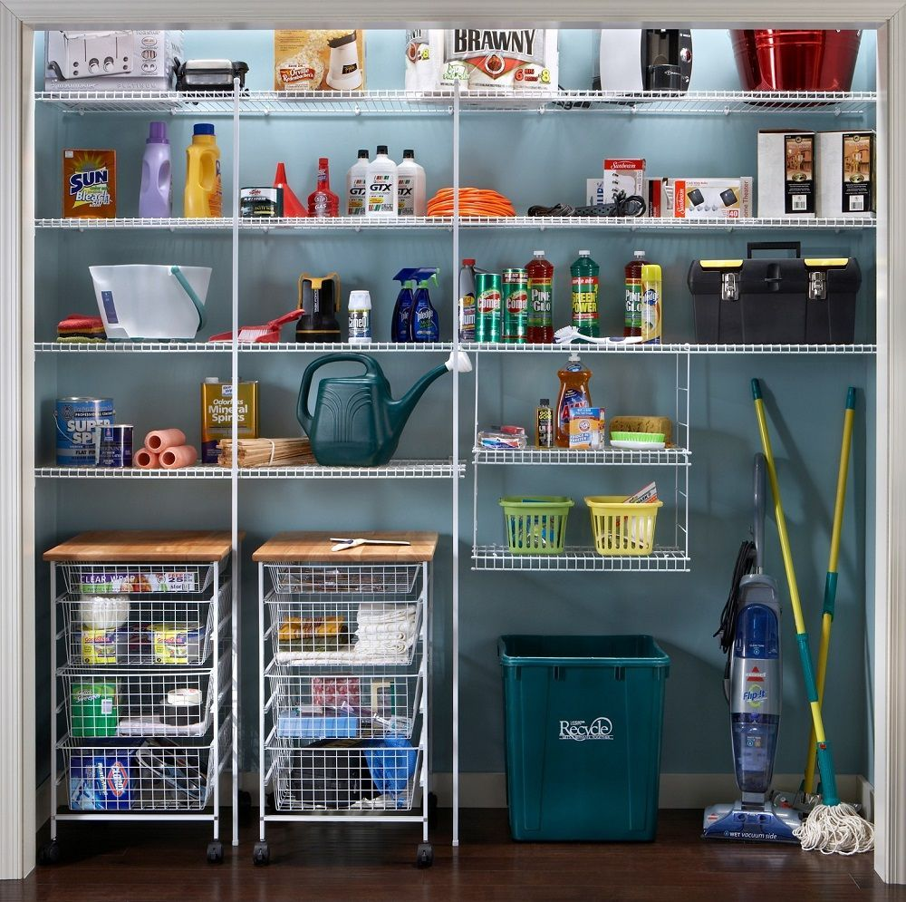 A Functional Utility Closet Needs The Proper Organization System Explore Our Wire Shelving Op Utility Closet Closet Organizing Systems Closet Hacks Organizing