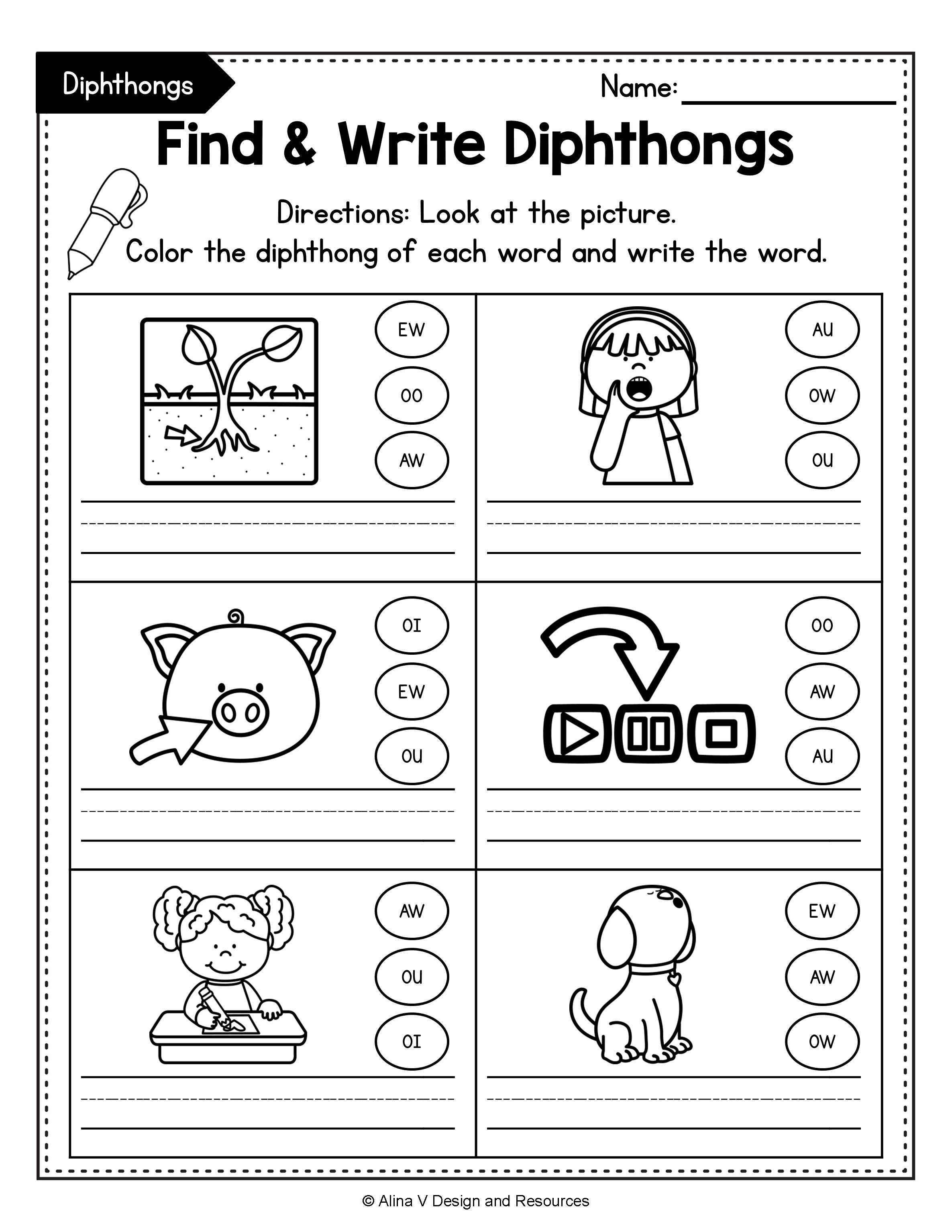 Diphthong Activities Bundle Diphthong Activities Vowel