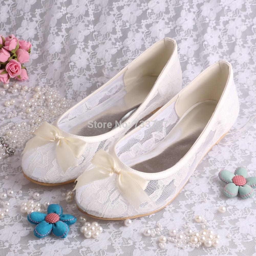 37.84$  Buy now - http://ali3qa.shopchina.info/go.php?t=1243502072 -  Ivory Lace Ballet Flats Bridal Wedding Shoes Women With Ribbon Bowtie  #buyininternet