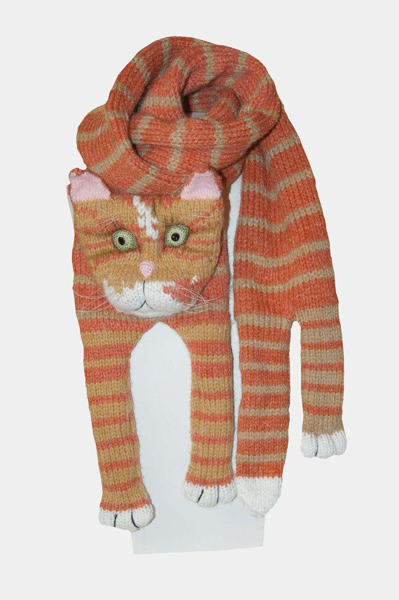 Tabby Red Cat Knitting Cat Scarf Scarf Animal knitting scarf-Cat ...