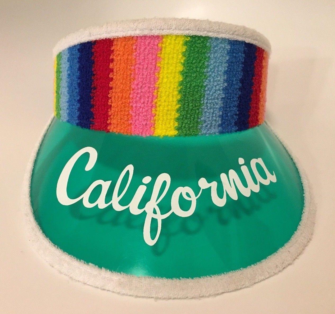 Vintage 80s Rainbow Terry Cloth CALIFORNIA Green Clear Plastic Sun Visor Hat   6f7fcbdabc3