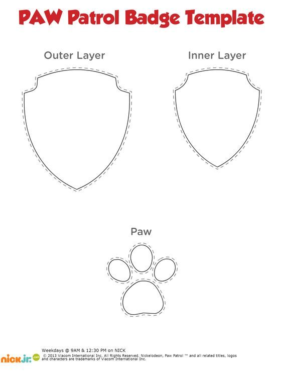 Paw print templates pinteres a free paw patrol badge printable template use to make one out of red blue and yellow consturction paper for your preschooler pronofoot35fo Choice Image