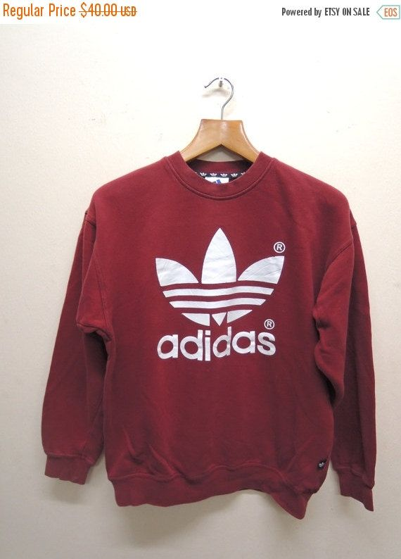 Vintage 90 s Adidas Trefoil Sweatshirt Pull Over Sport Sweater Hip ... 4f78aee05d06