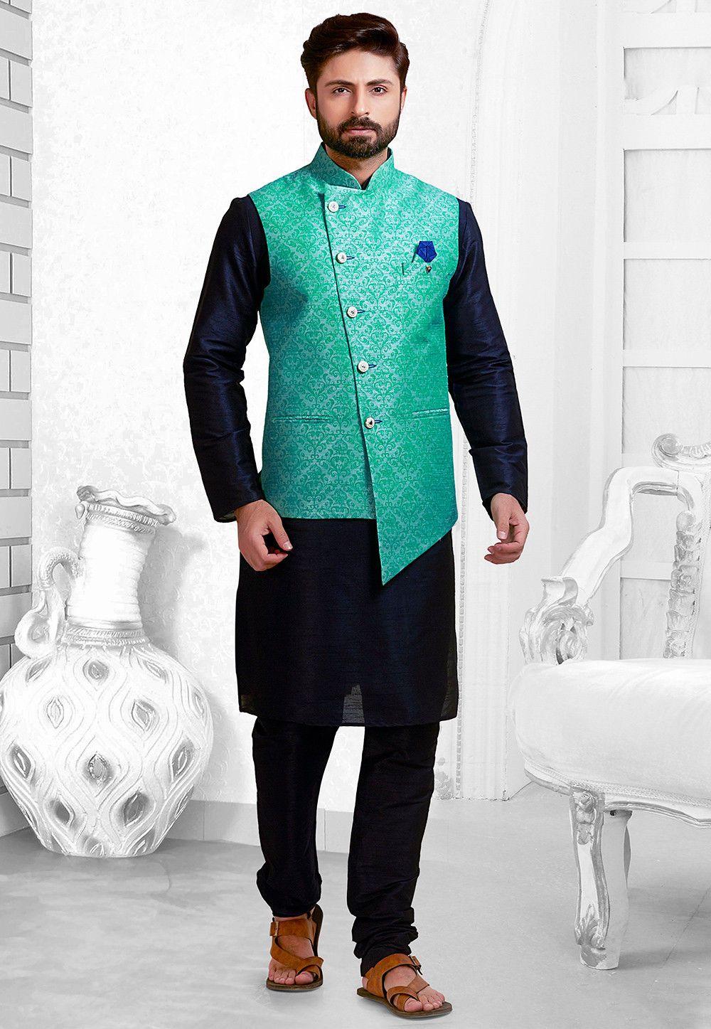 Buy online Woven Art Silk Kurta Jacket Set in Navy Blue