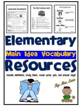 Elementary Main Idea Vocabulary Resources Vocabulary Advanced Vocabulary Vocabulary Definitions