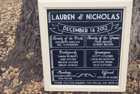 Vintage Framed Hand Drawn Chalkboard Wedding Ceremony Program On Etsy 175 00