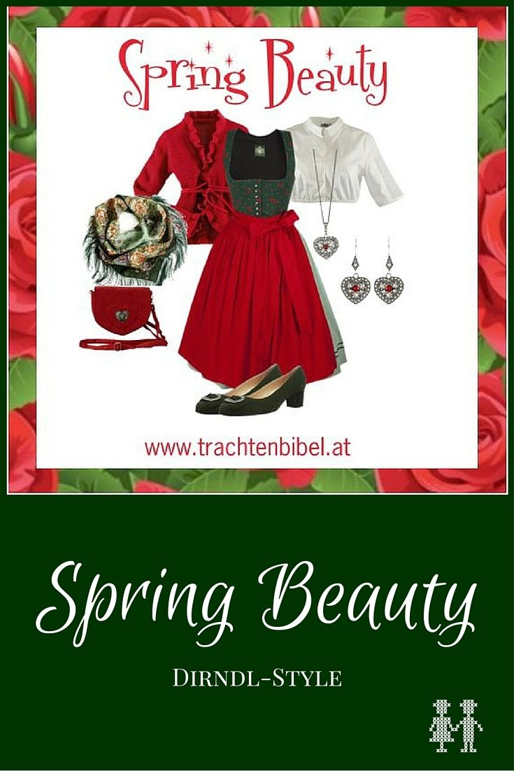 Dirndl-Style Spring Beauty - ein toller Look in Rot und Grün für das Gäubodenfest, Frühlingsfest oder einfach für den nächsten Heurigenbesuch. https://www.trachtenbibel.at/dirndl-style-spring-beauty/