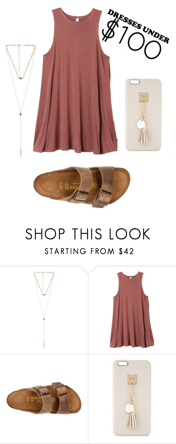 """#dressesunder100"" by brandie-lafountain ❤ liked on Polyvore featuring 8 Other Reasons, RVCA, Birkenstock and Iphoria"