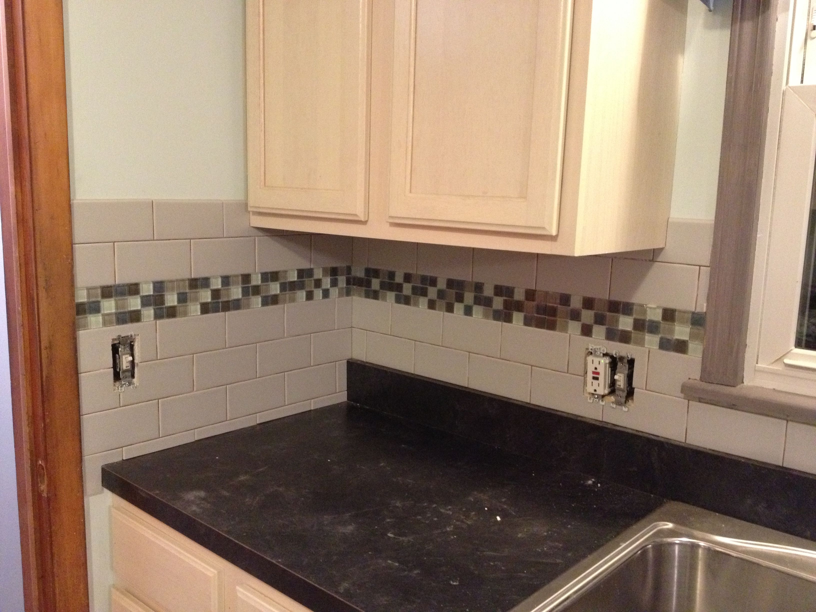 Subway tile backsplash with glass tile accent love my for Glass tile kitchen backsplash ideas
