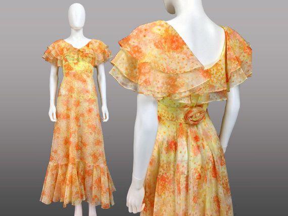 Vintage Prom Dress Xs Chiffon Prom Dress Frilly Dress 70s Etsy Prom Dresses Vintage Floral Prom Dresses Maxi Dress Prom