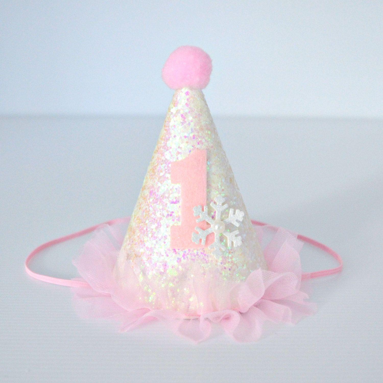 047fcbe823b Winter Wonderland   ONEderland 1st Birthday Mini Glitter Party Hat ...