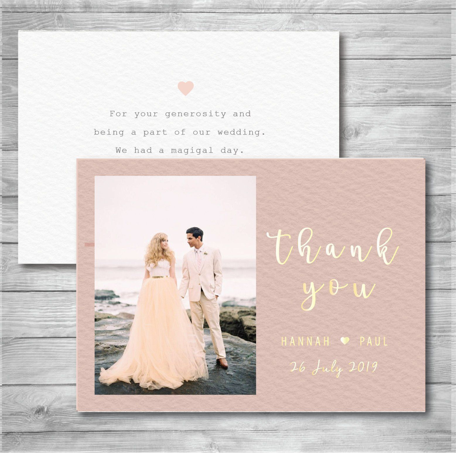 Wedding Thank You Cards With Photo Wedding Photo Thank You Etsy Wedding Thank You Cards Wedding Thanks Wedding Cards