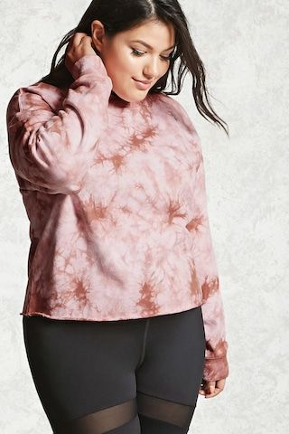 Forever 21+ - A French terry knit sweatshirt featuring a tie-dye wash, a crew neck, dropped shoulders, long sleeves with ribbed cuffs, and a raw-cut rolled hem.