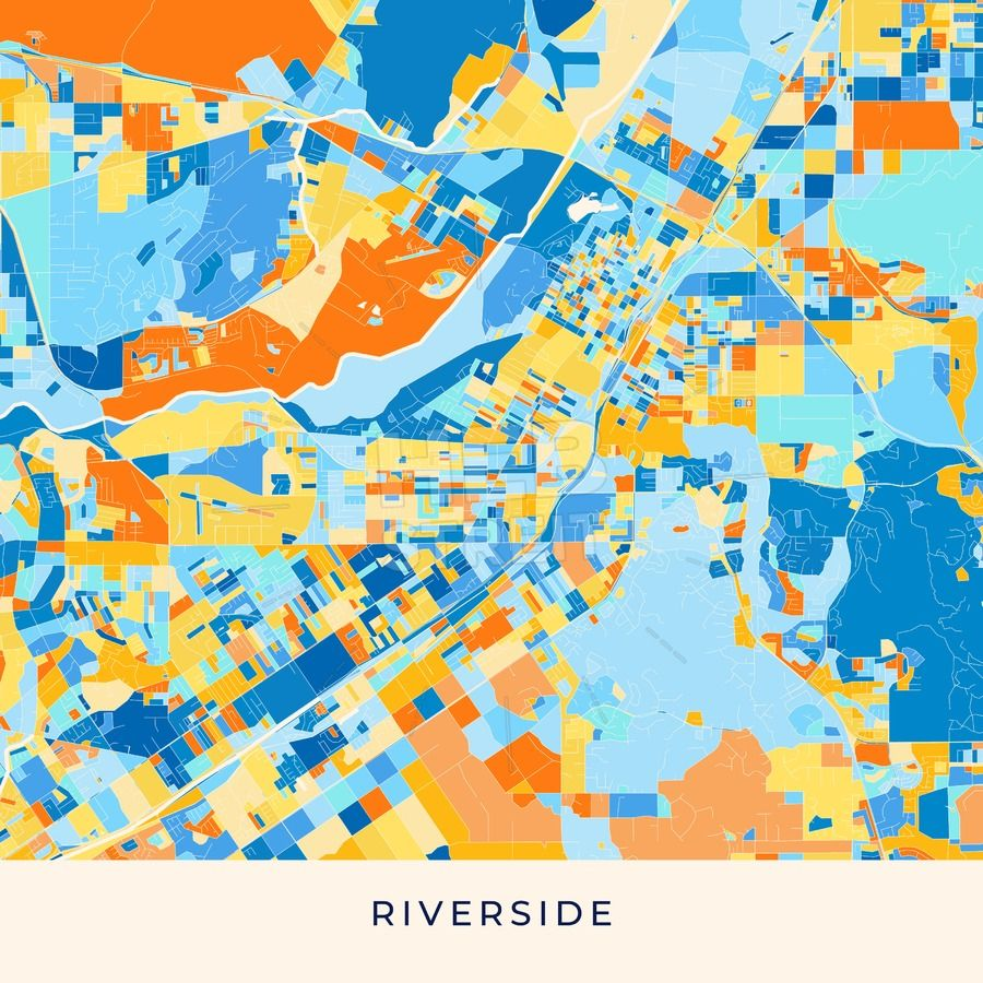 Riverside colorful map poster template in 2019 | Maps Vector ...