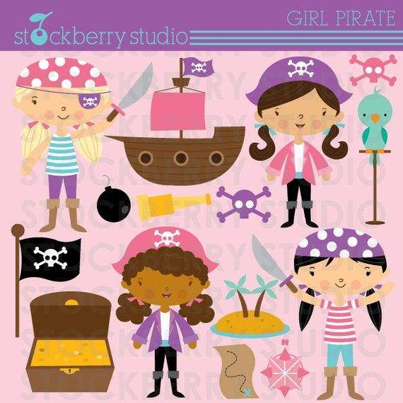 girl pirate digital clipart | para bebés | Pinterest | Piratas ...
