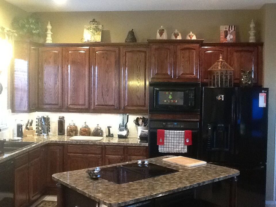 Red Mahogany Kitchen Cabinets Oak cabinets finished with minwax red mahogany stain Mahogany Cabinets, Oak  Cabinets, Stained Kitchen