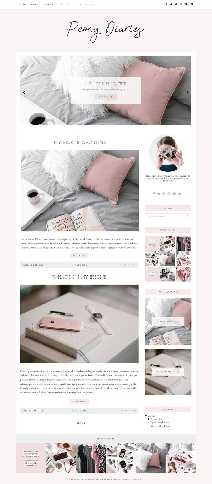 Peony Diaries A Responsive Blogger Template Premade Feminine