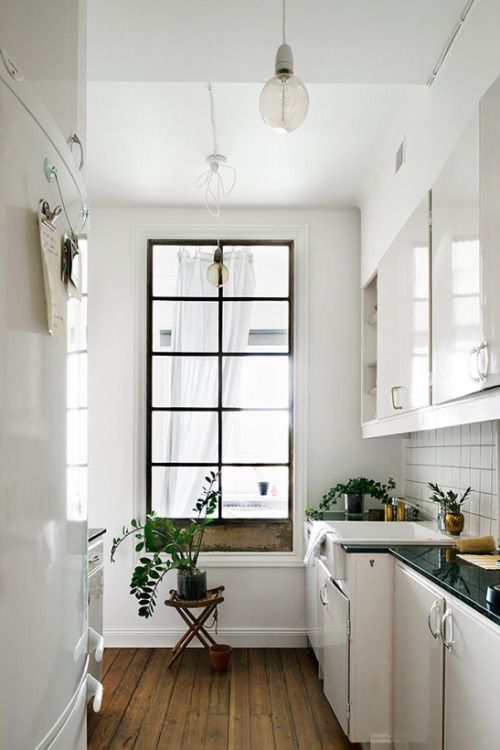 White Galley Kitchen With Long Black Window With Images