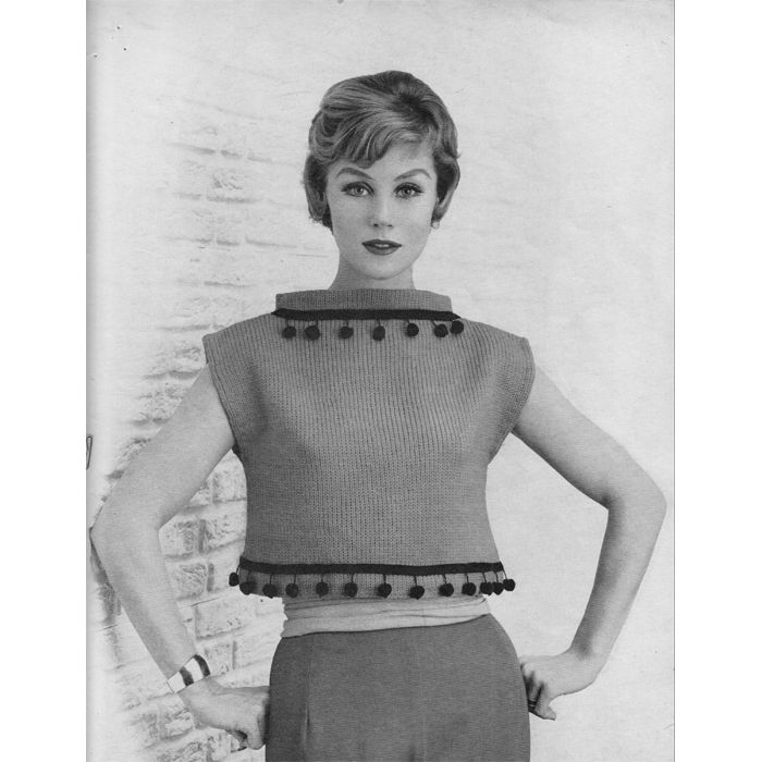 Cropped Sweater Top Knitting Pattern with Raised Boat Neck ...