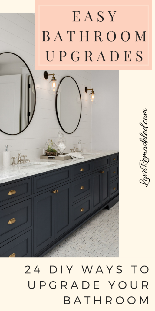 Check out these 24 easy bathroom upgrades for your home. These DIYs are simple to complete in a short amount of time, but make a bit statement in your bathroom. #bathroomupgrades #diybathroom #bathroom