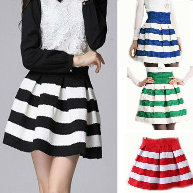 1805ed4ffb Cheap Nueva Primavera Moda para mujer salvaje GirlsRetro evasé Hit color de  los cordones de rayas mini falda de la falda corta de 4 colores J7019