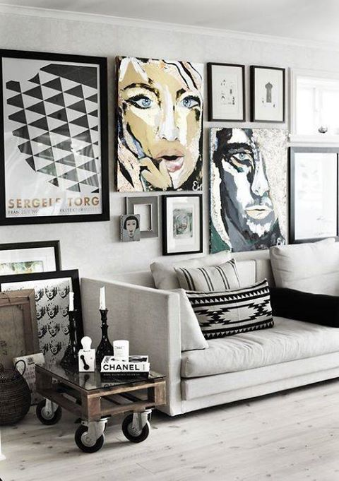 Gallery Wall With Large And Small Abstract Paintings Mainly Black And White Decor Wall Art Living Room Living Room Decor