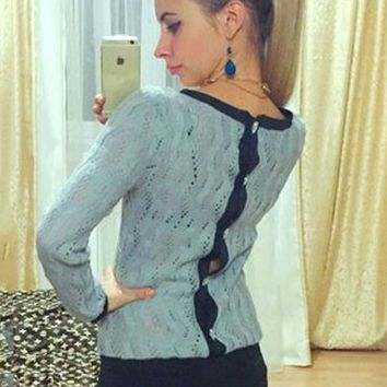 Blue Cut-Out Knitted Sweater with Back Button