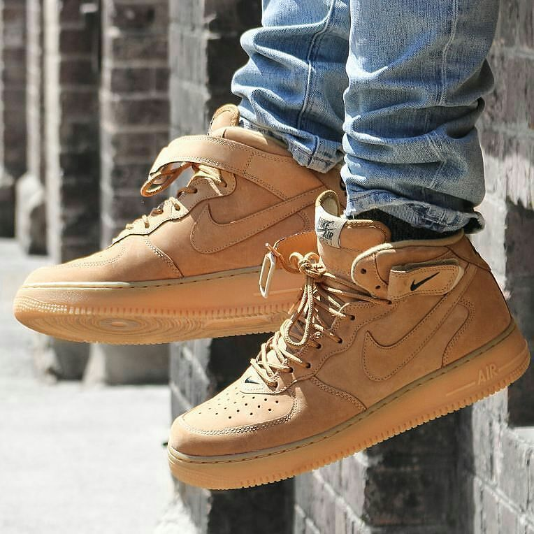 918c62b893bc Nike Air Force 1 Mid Wheat Flax Brown Premium Quality Size   39-44 ...