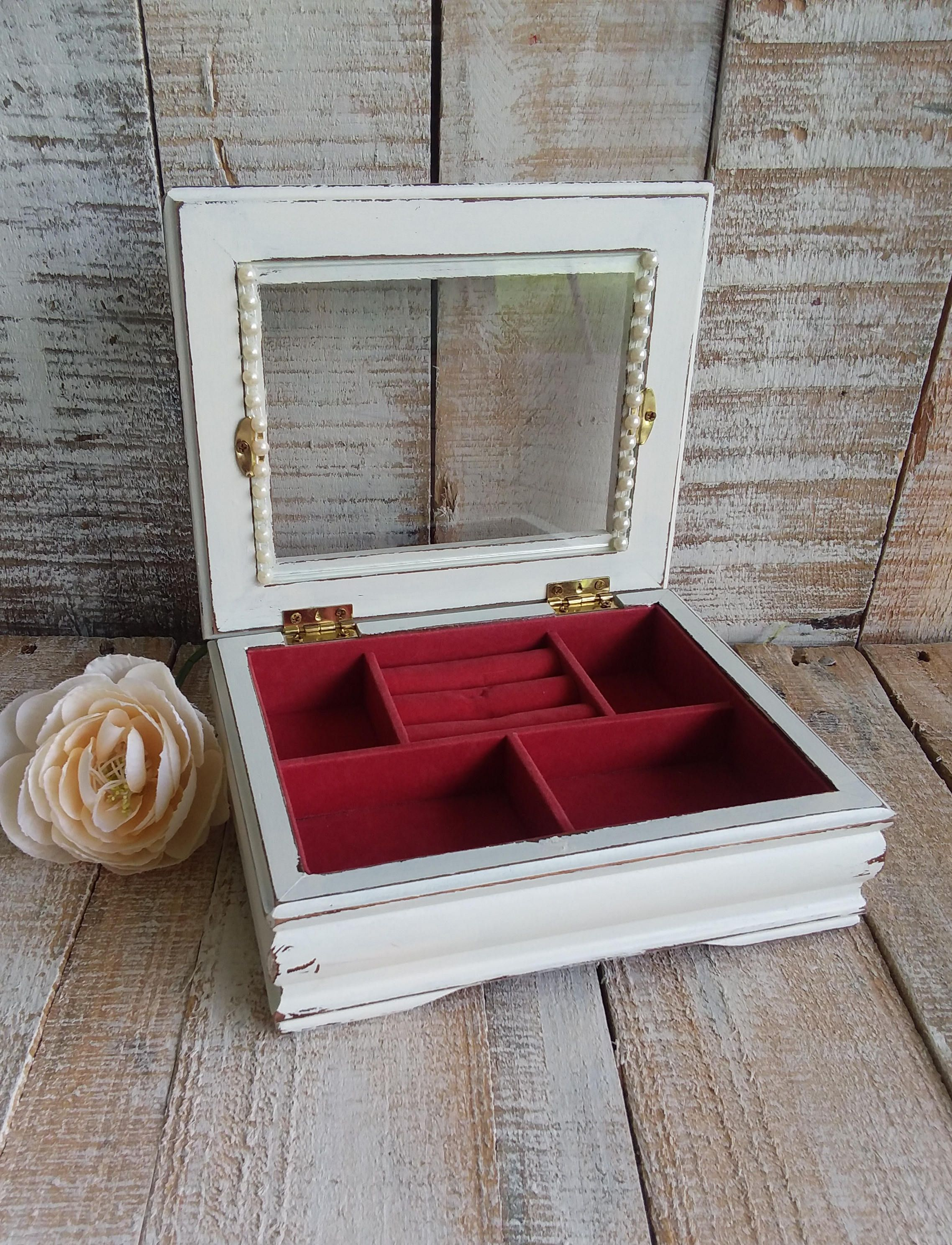 Small Shabby Chic Rustic Wooden Jewelry Box Painted Antique White